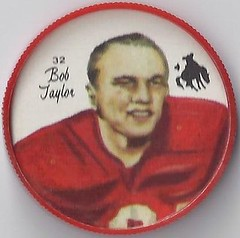 "1964 Nalley's Potato Chips CFL Plastic Football Coin (type 1 back) - BOB ""BOBBY"" TAYLOR #32-N (Calgary Stampeders / Canadian Football League) (trader #2) (WhiteRockPier) Tags: 1964 nalleys football coins caps footballcoins footballcaps bclions britishcolumbialions edmontoneskimos calgarystampeders saskatchewanroughriders winnipegbluebombers blank back blankback cfl canadianfootballleague potatochips vintage bobtaylor bobbytaylor hockey"