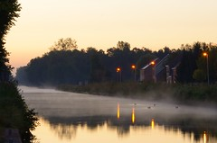 before sunrise (peterkleeren) Tags: sunrise golden hour blue fog canal nikon d600 landscape