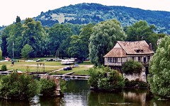 The Old Mill and the River Seine... (MickyFlick) Tags: vernon eure uppernormandy hautenormandie france theoldbridge riverseine historical touristattraction woodedhillside boats riverbank playpark pigeons