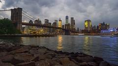 Downtown (Lojones13) Tags: outdoor skyline waterfront water dusk landscape river newyork city brooklynbridge nikond7000 downtown park