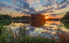 Summer's end 3 (piotrekfil) Tags: nature landscape sunset sun sunlight sky clouds reflections water waterscape pentax poland piotrfil