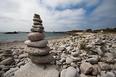 Cairns at Stony Porth Beach, Bryher, Isles of Scilly (splib1) Tags: cairn overcast cloud blue grey ocean atlantic atlanticocean bryher islesofscilly rugged rocky stone