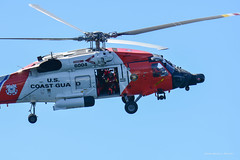 This Jayhawk crew flew out to welcome our AMHS ferry to Kodiak. (gene.mcgill95) Tags: alaska island kodiak wilderness summer sikorsky jayhawk uscg helicopter