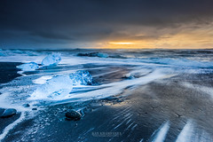 sunrise at jokulsarlon, Iceland. (Kanonsky) Tags: arctic beach beautiful black blue cloudy cold europe glacier ice iceberg iceland jokulsarlon lagoon landscape nature north ocean sand sea sunrise volcanic wave winter