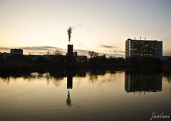 Eve (zouberiphotography) Tags: city urban scape cityscape town water reflection reflections buildings bratislava industrial slovakia eve evening sundown dusk lake sunset lights silhouette nikon d7000