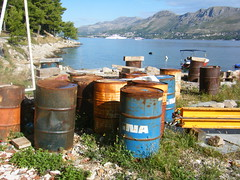 Cavtat, Croatia, boatyard and port (rossendale2016) Tags: repair weight concrete moored motor outboard sky yacht super superyacht grass girders blue sea port boatyard yard boat drums oil bins croatia cavtat