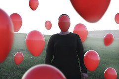 Untitled 2016 (misa.stahlova) Tags: 365 365project baloons red green contrast fog foggy cold chilly inkognito hiding field meadow evening conceptual surreal floating imaginative imagination portrait selfportrait sweater fall 50mm canon passion creative