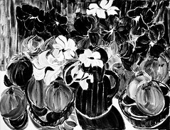 Just Nasturtiums And Apples And Paint (bill_giddings) Tags: blackandwhite original fineart stilllife oilpaintingoncanvas nasturtiumsandapples paintedbeforethemotive impressionisticstyle impressionism abstract illumination lightanddark shadows perspective space nikon