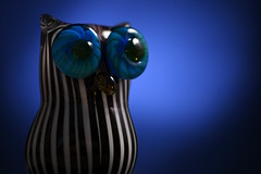 Day Three Hundred Forty (fotoJared) Tags: owl glass blown gift figurine strobist 365 365project nikon fotojared blue stripes fun