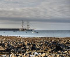 Tallship in Braye Bay, Alderney (neilalderney123) Tags: 2016neilhoward alderney shitpwater landscape tallship rocky olympus