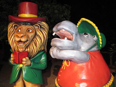 Lion and Hippo Carolers (meeko_) Tags: africa christmas statue gardens night tampa town florida nairobi lion hippo hippopotamus themepark buschgardens busch buschgardenstampa caroler christmastown buschgardensafrica buschgardenstampabay