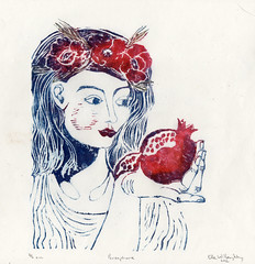 Persephone (the.minouette) Tags: greek wheat pomegranate poppy printmaking linocut linoleum mythology persephone myth kozo washi minouette