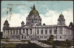 New City Hall (The Chairman 8) Tags: trees windows people building cityhall postcard columns entrance belfast northernireland domes grounds oldpostcard newcityhall grassjpaths