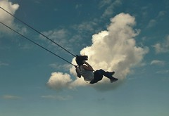 Childhood Dreams (KaiaPieters) Tags: blue sky cloud girl childhood youth clouds fly flying dream swing dreaming fantasy dreams imagine imagination imaginary