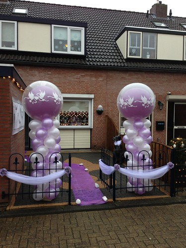 Ballonpilaar Breed Rond Lila Wit Love Doves