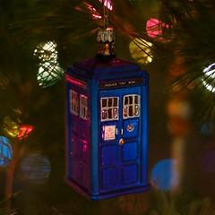 Tardis Ornament (macattck) Tags: christmas blue tree glass box who ornament doctor doctorwho british timetravel tardis policebox thedoctor timemachine tp413