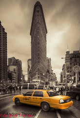 The Flatiron Building (Andrew 73) Tags: road street new york city nyc people building cars yellow canon traffic thomas cab taxi broadway andrew avenue flatiron fifth 5dmark3