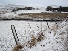 Amulree and the River Braan (Andy Worthington) Tags: trees winter snow scotland highlands frost perthshire churches fences hills rivers fields hotels amulree riverbraan a822