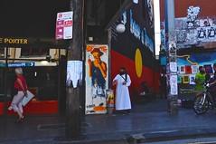 Proclaiming (mrponchomanphoto) Tags: street city people urban blackandwhite bw color colour art architecture buildings photography graffiti fuji candid perspective sydney streetphotography cityscapes fujifilm candids x100 fujifilmx100 fujix100