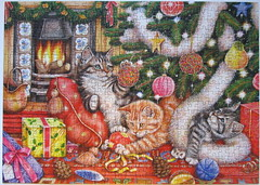 Bad Cats and Baubles (Debbie Cook) (Leonisha) Tags: christmas cats weihnachten chat kittens puzzle katze weihnacht jigsawpuzzle kätzchen