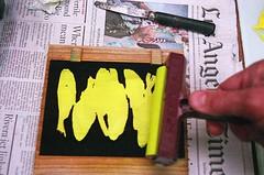 Inking Woodblock (jjldickinson) Tags: wood fish print cherry carving longbeach card tsukiji printmaking wrigley olympusom1 woodblock paletteknife danielsmith fujicolorsuperiaxtra400 mokuhanga brayer laserengraving hansayellowmedium watersolublereliefink acrylicretarder promastermcautozoommacro2870mmf2842 promasterspectrum772mmuv roll399