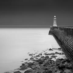 Tynemouth Lighthouse (Alistair Bennett) Tags: longexposure sunset lighthouse seascape mono rocks dusk northsea tynemouth sentinel tynewear rivertyne gnd045se nikkorafs70200mm28gedvrii
