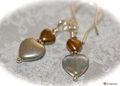 Glass Heart Earrings - Silver and Antique Bronze (DJAjewels) Tags: sterlingsilver heartearrings artdecoearrings nouveaujewelry