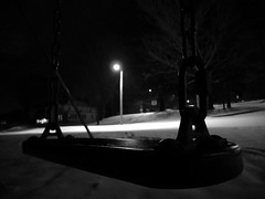 Swingset (ChadCooperPhotos) Tags: wood winter white snow black cold ice playground basketball night backboard dark photography lights photo time slide swing ceiling canoe nighttime rim