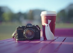 sometimes a girl just needs her camera, coffee and little bit of pink (~Staci Lee~) Tags: camera film coffee mediumformat losangeles minolta fujireala starbucks 365 mamiya645 8365