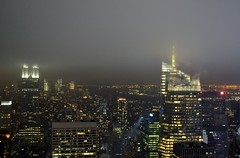 Fog in the City (gigi_nyc) Tags: nyc newyorkcity winter fog skyline night buildings centralpark manhattan rockefellercenter queens citylights empirestatebuilding topoftherock observationdeck gebuilding midtownmanhattan prometheusfountain totr
