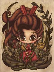 ARRIETTY Tribute (Anita Mejia) Tags: color art illustration digital pen ink photoshop watercolor mexico sketch wip totoro markers bic hayaomiyazaki boligrafo arrietty chocolatita anitamejia