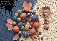 Cirque du soleil (MarinaBelle-MI) Tags: wood blue red brown cute art wool glass agate fashion bronze felted design necklace beads colorful felting handmade crafts decoration craft jewelry felt jewellery bead romantic handsewn accessories earrings unusual feltro decoração multicolor handcraft autumm filz accessory fieltro filtz