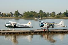 C-GMKP and C-FEGE (John W Olafson) Tags: vancouver airplane beaver fraserriver seaplane floatplane dehavilland bushplane dhc2 cgmkp cfege