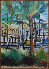 view from a parking lot in Driebergen (Jocawe) Tags: canoneos60d 1755 dpp availablelight paintingpleinair painting canvas acryl green black blue brown ocre yellow tree