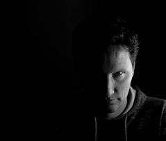 The Dark Half (Rolroo) Tags: cy cytoeos canon beautydish bw planart1450 t planar zeiss prime 50mm fullframe 5d mk2 5dmk2 markii contaxmount efmount shadow carlzeiss extremelighting zwartwit schaduw studio lightroom gritty sharpened cytoef playingwithlight blackandwhite