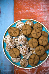 Homemade cookies with briar flour (vanilllaph) Tags: homemade cookie biscuit colorful wood table sweet food delicious almond flour eat eating sugar coated cross taste tasty vertical blue orange plate recipe cook cookbook menu