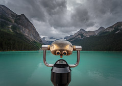 The View (Dan Fleury) Tags: alberta improvementdistrictno9 canada ca lake louise ab cans2s glacial blue gold cloudy mountains wide canon banff national park