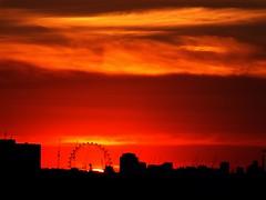 The London Eye at Sunset (Waterford_Man) Tags: londoneye sunset sky orange london summer hot explore