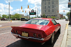 Spoiler Alert (Flint Foto Factory) Tags: flint michigan genesee county urban city summer august 2016 downtown dropfest weekend saturday 340 ssaginawst saginaw kearsleyst kearsley intersection 1970 chevrolet chevy camaro rs rallysport churchills red brick street sporty pony muscle car american generalmotors gm hometown fbody platform threequarter view worldcars mott foundation building