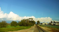 Into the future (gwenneth.leane) Tags: railline trees blue sheds houses fenceline grass