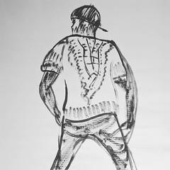 Bboy Lsg  with @bboylsg  #inkonpaper #drawing #bboy #art #hiphop #breaking #dance #dancer #breaker #contemporaryart #artonpaper #paper #blackandwhite #originalart (Emanuele Pavarotti) Tags: instagram new york usa iphone4s
