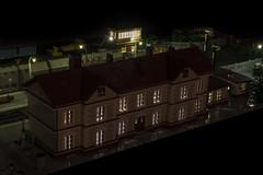 The Train Station at night - main building (Maciej Drwiga) Tags: lego train station