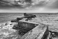 St. Monans Pier, Fife (jason.tyldsley) Tags: stmonans pier fife scotland zigzag breakwater sea bw