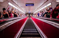 Looking down (Chacky) Tags: budapest hungary stairs perspective centeral access point vanishingpoint vanishing red europe escalator