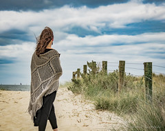 naomi160904-041 (Naomi Creek) Tags: selfportrait portraiture portrait selfdiscovery creativity explore personal project beach beads distantworld sand sea shawl net girl woman clouds crochet