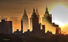 sunset (albyn.davis) Tags: sun sunset sky bright vivid vibrant yellow golden silhouettes skyline nyc newyorkcity layered manipulation