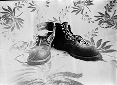 shoes. (jani ketola) Tags: pinholephotography f350 bw selfmade analog rolleipaper biker homestudio