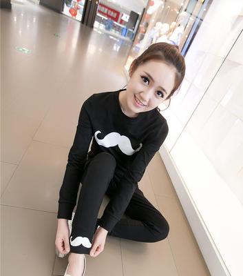 Autumn women students ' leisure fashion sports wear trousers two piece set tide 2016 mustache thin sweater