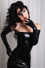 Picture-0111 (Marilyn Yusuf) Tags: red woman black sexy girl beautiful hair dress rubber lips gloves curly latex tight