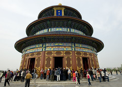 Temple Of Heaven, Beijing, China (Eric Lafforgue) Tags: china city travel roof people cloud color colour history tourism monument vertical horizontal architecture outside temple person photography pagoda asia heaven day outdoor beijing dome spirituality ornate templeofheaven ancientcivilization groupofpeople clearsky buildingfront eastasia placeofworship chineseculture pekin partof capitalcity digitalenhancement realpeople capitalcities traveldestinations colorimage famousplace buildingexterior nationallandmark colorpicture placeofinterest internationallandmark lowangleview traveldestination traditionallychinese groupofpersons mg0076 stepandstaircase